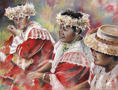 Three Mamas From Tahiti Art Print by Miki De Goodaboom