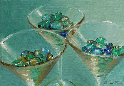 Martini Royalty-Free and Rights-Managed Images - Three Martini Glasses with Jewels by Sarah Parks