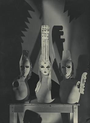 Three Masks Designed By Oliver Messel Art Print by George Hoyningen-Huen?