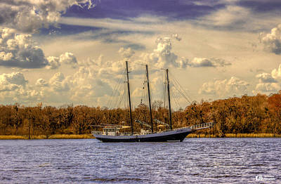 Photograph - Three Masted Schooner by Ed Roberts