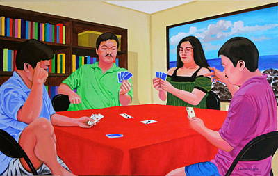 Sports Paintings - Three Men and a Lady Playing Cards by Cyril Maza