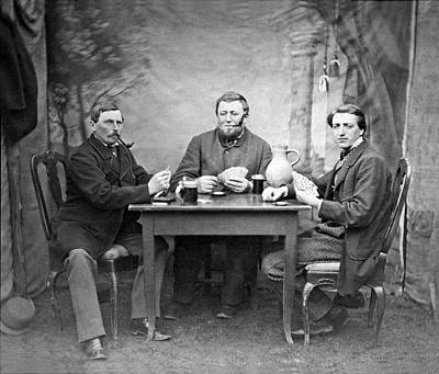 Three Men Playing Cards Art Print by Underwood Archives