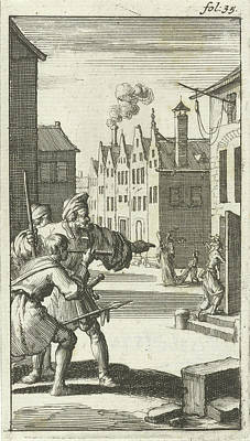 Deadly Drawing - Three Men See Sin Enter A House, Jan Luyken by Jan Luyken And Abraham Boekholt