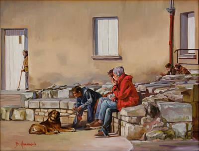Three Men With A Dog Art Print by Dominique Amendola