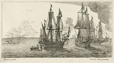 Three Merchant Ships Off The Coast, Anonymous Art Print