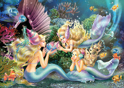 Child Photograph - Three Mermaids by Zorina Baldescu