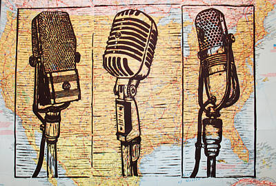 Drawing - Three Microphones On Map by William Cauthern