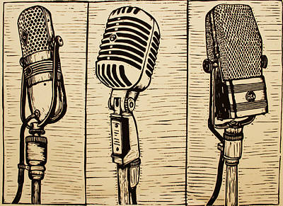 Austin Drawing - Three Microphones by William Cauthern