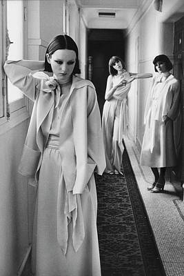 Chloe Photograph - Three Models In A Hallway Inside Hotel Lutetia by Deborah Turbeville