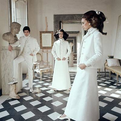 Valentino Photograph - Three Models Including Marisa Berenson Wearing by Henry Clarke