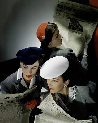 Fashion Design Photograph - Three Models Wearing Assorted Hats by Horst P. Horst