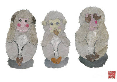 Painting - Three Monkeys, Zodiac Of 2016 by Keiko Suzuki