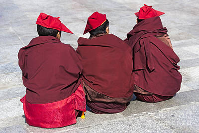 Monk Photograph - Three Monks by Hitendra SINKAR