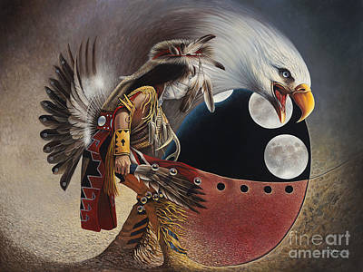 Oro Painting - Three Moon Eagle by Ricardo Chavez-Mendez