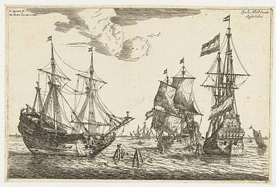 Three Moored Sailboats, Reinier Nooms Print by Reinier Nooms