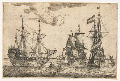 Three Moored Sailing Boats, Reinier Nooms Print by Reinier Nooms