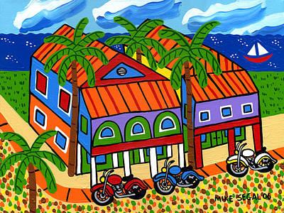 Three Motorcycles At Cedar Key Art Print by Mike Segal