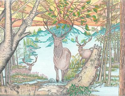 Pine Needles Drawing - Three Mule Deer At Daybreak In Olor by Carolann Van de Ligt