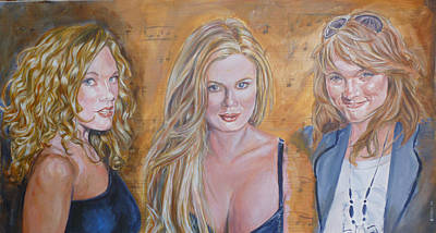 Painting - Three Musical Graces by Bryan Bustard