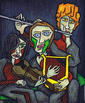 Novel Painting - Three Musicians by Kamil Swiatek