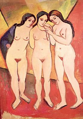 Erotica Painting - Three Naked Girls by August Macke