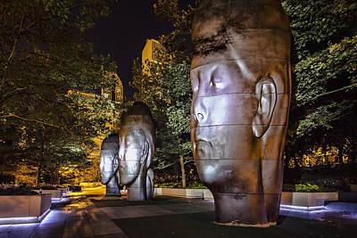 Three New Faces In Chicago's Millennium  Park Art Print by Sven Brogren