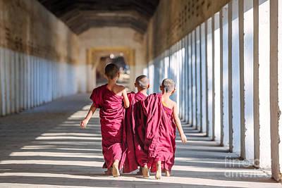 Three Novice Monks Walking To A Temple - Myanmar Art Print