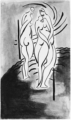 Cardboard Drawing - Three Nudes by John Bernard Flannagan