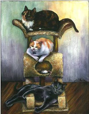 Painting - Three Oblivious Cats by Sarah Farren