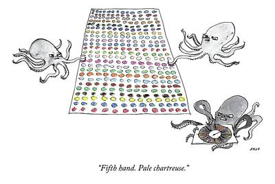Edward-steed Drawing - Three Octopi Play Twister On A Giant Mat by Edward Steed