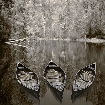 Trees And Lake Photograph - Three Old Canoes by Debra and Dave Vanderlaan