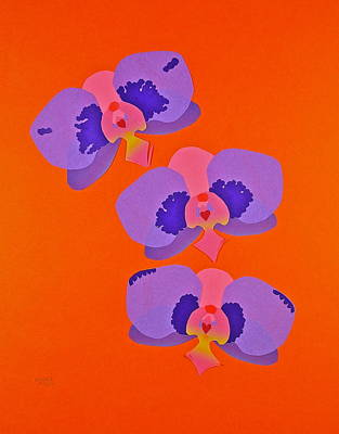 Mixed Media - Three Orchids by Michele Myers