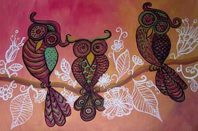 Painting - Three Owls by Cherie Sexsmith