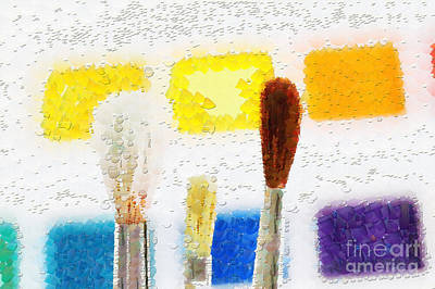 Tool Box Painting - Three Paintbrushes Against Paints Painting by Magomed Magomedagaev