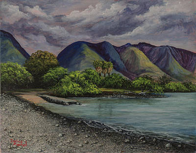 Tropical Painting - Three Palms At Olowalu by Darice Machel McGuire