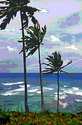Ocean Digital Art - Three Palms by Douglas Simonson