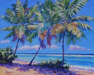 Caribbean Sea Painting - Three Palms - East End  1620 by John Clark
