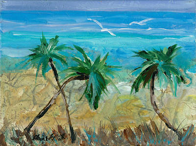 Painting - Three Palms by Elaine Elliott