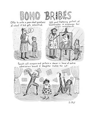 Cartoons Drawing - Three Panel Cartoon About What Boho Parents by Roz Chast