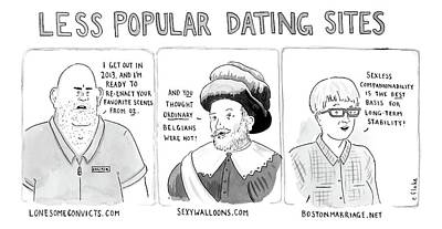 Drawing - Three Panel Cartoon Of Online Dating Profiles by Emily Flake