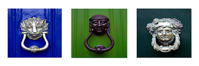 Three Panel Door Knockers Print by Tony Grider