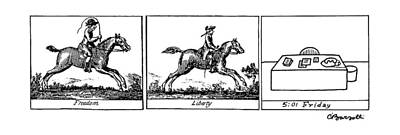 Horseman Drawing - Three Panels by Charles Barsotti