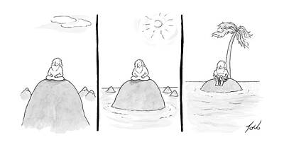 Wise Men Drawing - Three Panels Of A Man Sitting On An Glacier by Tom Toro