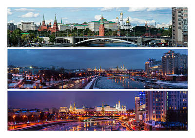 Three Panoramas Of Moscow Kremlin - Featured 3 Art Print by Alexander Senin