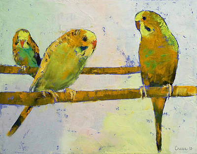 Parakeet Painting - Three Parakeets by Michael Creese