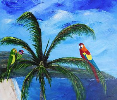 Painting - Three Parrots by Jamie Frier