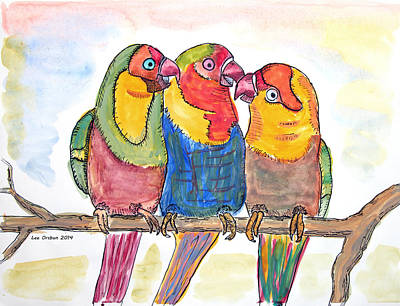 Painting - Three Parrots On A Branch by John Orsbun