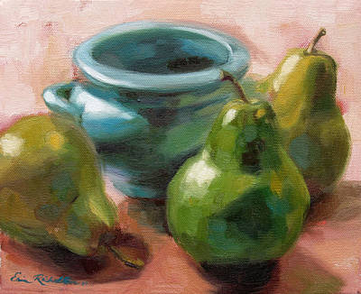 Painting - Three Pears And Blue Bowl by Erin Rickelton