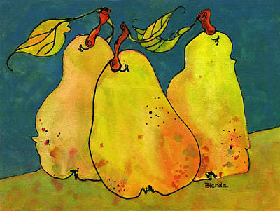 Pear Watercolor Painting - Three Pears Art  by Blenda Studio