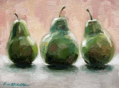 Painting - Three Pears by Erin Rickelton